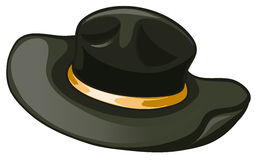 A black hat with a yellow belt Royalty Free Stock Image