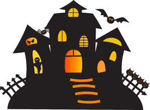 Black Haunted Ghost House Illustration Royalty Free Stock Photos