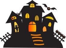 Black Haunted Ghost House Illustration. Black haunted ghost house, black ghost, black bat, black spider, spooky Halloween illustration, spooky house illustration Royalty Free Stock Photos