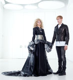Black haute couture retro futurist couple Royalty Free Stock Photography