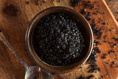 Black Hawaiin Lava Sea Salt. In a Bowl Stock Photo