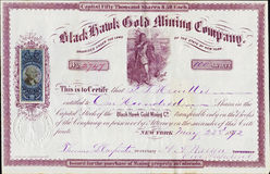 1872 Black Hawk Gold Mining Company Stock Certificate - Colorado Territory Stock Photos