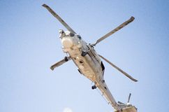 Black hawk helicopter electronic warfare. Down view aviation radar antenna Stock Image