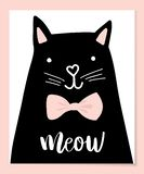 Black head of Cute Cat with hand lettering word Meow on white background. Royalty Free Stock Images