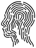Black head fingerprint. Isolated black head fingerprint from white background Royalty Free Stock Photos