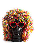 Black head with wig and sunglasses Stock Image