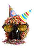 Black head with wig and sunglasses Stock Photos