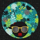 Black head woman in retro glasses. Stock Photo