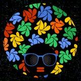 Black head woman in retro glasses. Stock Images
