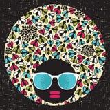Black head woman with strange pattern hair. Stock Image