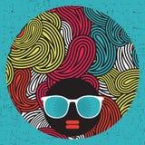 Black head woman with strange pattern hair. Royalty Free Stock Photo