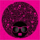 Black head woman with strange pattern hair. vector illustration