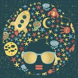 Black head woman with strange pattern hair. Royalty Free Stock Image