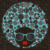 Black head woman with strange pattern on her hair. Royalty Free Stock Photography