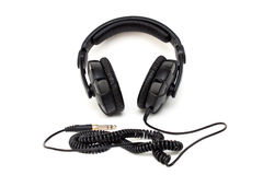 Black headphone. Isolated on a white background Royalty Free Stock Photo