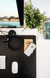 Black Headphone and Apple Magic Mouse on Black Desk Stock Photos