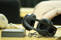 Black headphone Stock Image