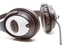 Black headphones. Isolated in white background Royalty Free Stock Photos