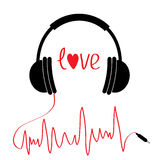 Black headphones icon with red cord in shape of cardiogram. . Love card. Text heart. Flat design. White background. Stock Photo