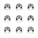 Black headphones icons Royalty Free Stock Photos