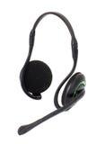 Black headphones isolated on white background Stock Photos