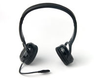 Black headphones isolated on a white background Royalty Free Stock Image
