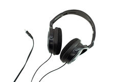 Black headphones isolated Stock Photography