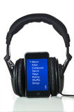 Black Headphones and mp3 player Royalty Free Stock Photography