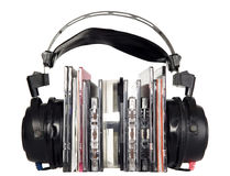 Black headphones with music discs Stock Photo
