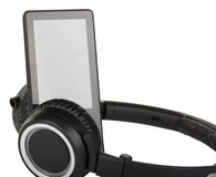 Black headphones and player Stock Photos