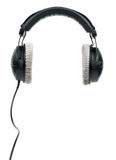 Black_headphones. Black professional headphones  on white background Royalty Free Stock Images