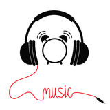 Black headphones with red cord in shape of word Music. Card. Flat design icon. White background. Isolated. Stock Images