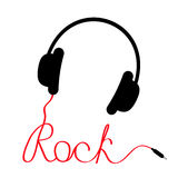 Black headphones with red cord in shape of word rock. Music card stock illustration
