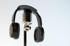 Headphones and mic, broadcasting concept Stock Image