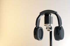 Headphones and mic, equipment concept Royalty Free Stock Photography