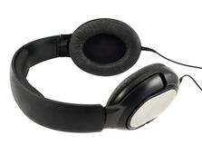 Black headphones set with a wire Stock Photo