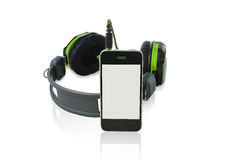 Black headphones and smart phone. Stock Image