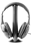 Black headphones on the stand Royalty Free Stock Photos