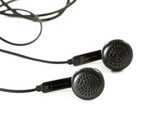 Black headphones on white Stock Photography