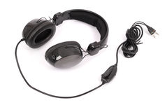 Black headphones white background Royalty Free Stock Photography