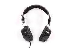 Black headphones white background Stock Photos