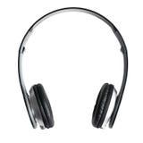 Black headphones on white background Stock Images