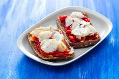 Black healthy bread with cod fish and red pepper on dish royalty free stock images