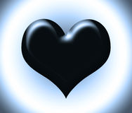 Black heart. On grey background Stock Photo