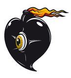 Black heart with fire flames. For t-shirt design Stock Image