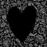 Black heart on the floral background for your text Royalty Free Stock Photos