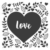 Black heart with hand drawn nature sign love. Floral heart Royalty Free Stock Photography