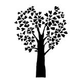 Black heart leaves tree, isolated imagination tattoo. Sign Royalty Free Stock Images