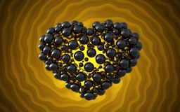 Black heart made of spheres with reflections  on involute bright background. Happy valentines day 3d illustration.  Stock Photo