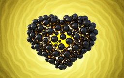 Black heart made of spheres with reflections  on involute bright background. Happy valentines day 3d illustration.  Royalty Free Stock Photography
